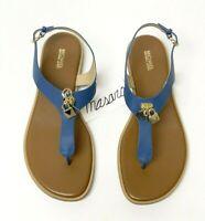 Women MK Michael Michael Kors Suki Flat Buckle Up Sandals Leather Dark Chambray