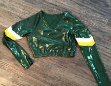 Real Cheerleading Uniform Metallic Crop Top A's SzS METALLIC GREEN/YELLOW/WHITE
