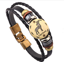 Hot 1pcs capricorn punk style Constellation Leather Bracelet Men Women's