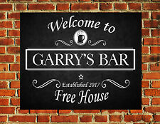 PERSONALISED NAVY BLUE PUB BEER BAR FUNNY METAL WALL SIGN GIFT PRESENT LANDLORD