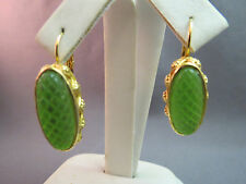 Earrings Leverback Dangle Lime Green Resin Stones Brilliant Gold Plated Textured