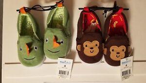 Toddler Boys Monkey & Dinosaur Set of Slippers sizes 2,5,7 SHIPS FAST SHIPS FREE