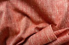 "Pale Red Cream Tsumugi Vintage Japanese Kimono Silk Quilt Cushion Fabric 50"""
