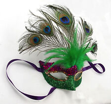 Mardi Gras FEATHER MASK w/Peacock feahter, PURPLE/GREEN/GOLD, handmade