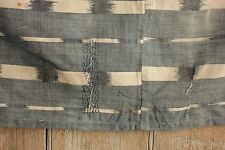Antique Ikat fabric French flamme 18th century indigo panel rustic Primitive