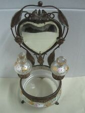 Antique Art Nouveau  Dresser Vanity metal Set mirror and  two bottles and bowl 1