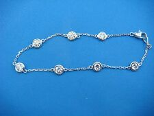 "STRIKING 1.40 CT ""DIAMONDS BY THE YARD"" 7 STATIONS BRACELET, 14K WHITE GOLD"