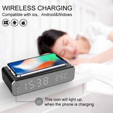 Электрическая светодиодная зеркало будильник с беспроводной телефон зарядное устройство цифровой термометр