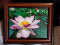 """Flower Lotus Photography Print on Canvas Home Decor SMALL about 10"""" x 12"""" Framed"""
