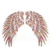 1Pair Rainbow Sequins Feather Wings Patches Sew Iron On DIY Applique Embroidered