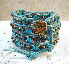 Romantic Aqua & Antique Gold Luster Glass Handmade Beaded Leather Wrap Bracelet