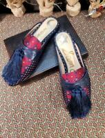 Excellent Used US 8.5 Women Sam Edelman Parsimon Tassel Slide Shoes Navy Red