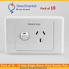 10 x Double Pole 10 Amp Single Power Point GPO Socket Caravans Campers Motorhome