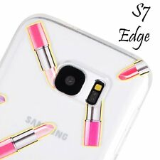 for Samsung Galaxy S7 Edge - PINK RED LIPSTICKS ULTRA THIN TPU Rubber Case Cover