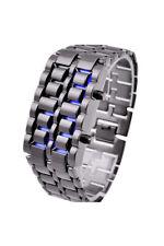 Blue Led Digital Lava Iron Style Metal Sports Watch V8K4 D7E8
