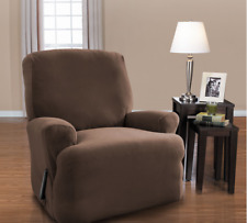 Recliner Slipcover Soft Stretch Twill Brown - 4pc