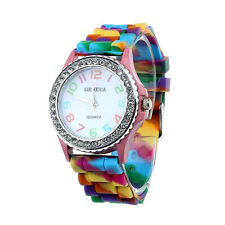 Women Geneva Silicone Crystal Bling Analog Digital Quartz Wrist Watch Purple R