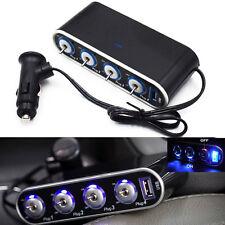 4 Way Multi Socket Auto Cigarette Lighter Splitter USB Plug Adapter Sell Well