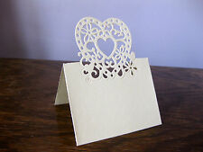 Heart wedding paper place cards - pack of 10 - cream vintage style NEW