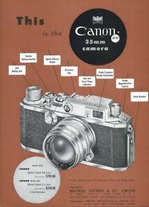1953 Vintage Print Ad Canon IVS2 Rangefinder Camera