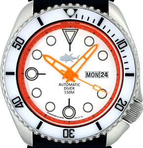 "Vintage SEIKO 6309 Diver Mod w/Neon Orange ""Rocket"" Hands Set on a White Dial"