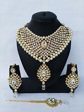 Indian Bollyood Gold Tone Kundan Designer Bridal Fashion Jewelry Necklace Set