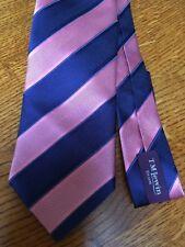 T.M Lewin Cravate 100% soie-rose bleu diagonale Rayures