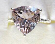 Rose de France Amethyst Trillion Ring / size 7 /  925 Sterling Silver, 4cts