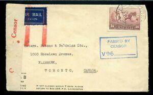 RARE JUSQU'A AUSTRALIA 1/ 6 airmail so far, censored cover to Canada