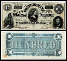 1864 $100 CONFEDERATE CIVIL WAR CURRENCY ~