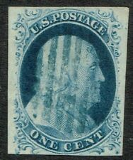 USA SG11/Sc.9 1c Deep Blue Type IV Blue Grid Cancel Very Fine Used Cat: £120.00