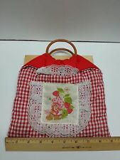 Vintage STRAWBERRY SHORTCAKE Quilted Purse with Wood Hoop Handles