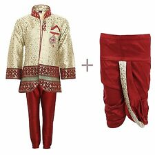 Boys Indo Western Kurta Dhoti Pant Set for Kids Maroon 2T
