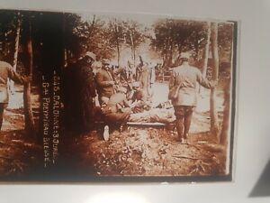 plaque photo verre positif militaria Calonne  Général Poeymirau ww1 14/18 **