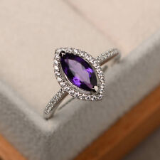 14K White Gold Solid 1.95 Ct Natural Diamond Marquise Cut Real Amethyst Ring 487