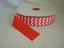 "100 YARDS - 1.5"" - 1 1/2"" Coral & White Chevron Grosgrain Ribbon -100% Polyester"