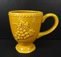 Pier 1 Harvest Gold Footed Mug Embossed Grapes & Leaves Yellow