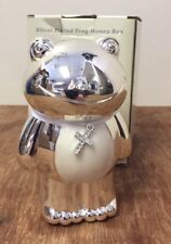New Baby Gift Christening Present Cream Silver Plated Frog Money Box BNIB