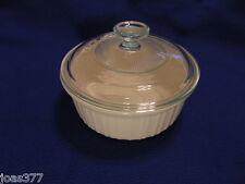 Corning 1.5 Qt  French White F-5-B Baking Casserole Dish 1.4 L G-5-C Ribbed Lid