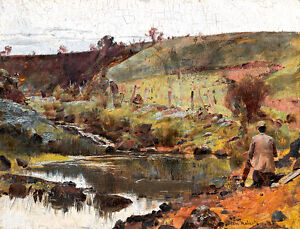 A Quiet Day on Darebin Creek A1 by Tom Roberts High Quality Canvas Print