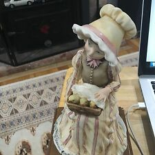 """G. ARMANI Figure Figurine Statue Sculpture """"Girl with basket of chicks"""", Italy"""