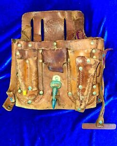 Vintage Klein Tools NO. 5167 Leather Electricians Lineman Tool Pouch With Belt