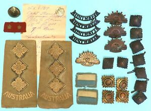 original WW2 Australian Army, Named mixed Insignia collection. Africa & Pacific