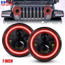 "7"" inch RED Halo LED Headlights DRL Light Combo Kit Fit Jeep Wrangler JK TJ LJ"