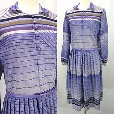 Vintage 70s Purple Mod Stripes Gauze Secretary Dress Belted Plus Size 1X/2X