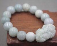 Summer Gift Natural Grade A Jade Light Green Jadeite 13mm Bead Pixiu Bracelet