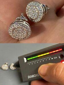 Real 925 Silver Iced Moissanite Hip Hop Men's Earrings Studs Pass Diamond Tester