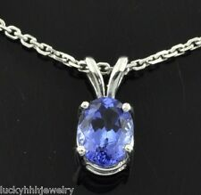 14k Solid White gold  AAA solitaire Natural  Oval Tanzanite Pendant  classy