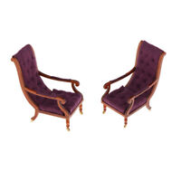 2x Mini Dollhouse Reclining Chair Furniture 1:12 Settee Bench with Pulley