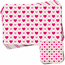 Small & Large Love Heart Pattern Set of 4 Placemats and Coasters